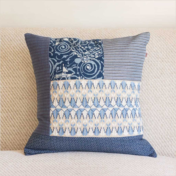 Markaz Patchwork Blue Cushion with Fish - Pomegranate Living