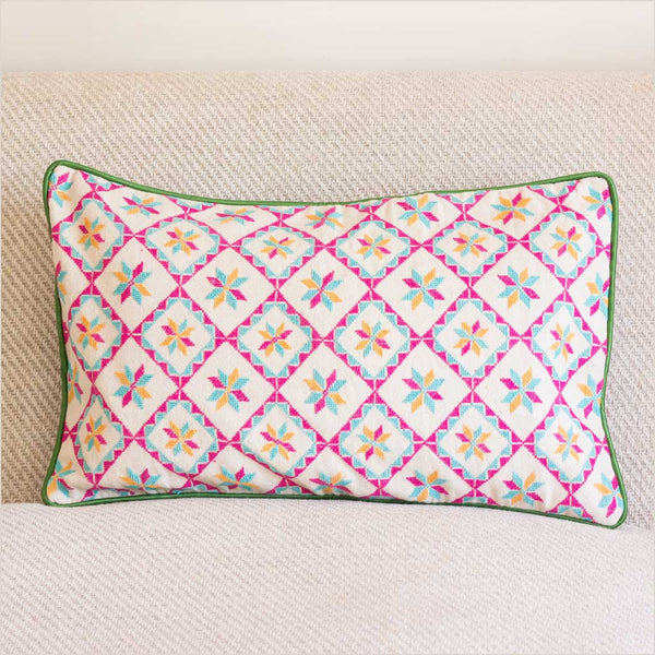 Markaz Pink Embroidered Cushion with Diamonds