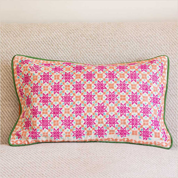 Markaz Pink Embroidered Cushion with Stars - Pomegranate Living