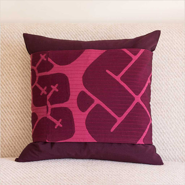 Nagada Belted Cushion in Deep Aubergine - Pomegranate Living