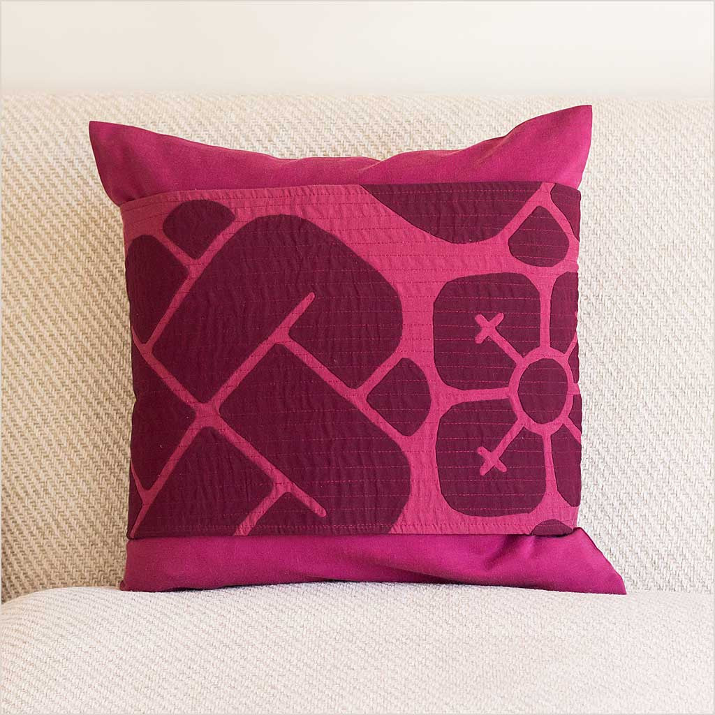Nagada Belted Cushion in Burgundy - Pomegranate Living