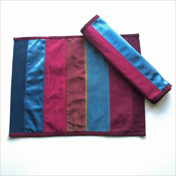 Nagada Patchwork Set of 2 Placemats in Burgundy & Blue - Pomegranate Living