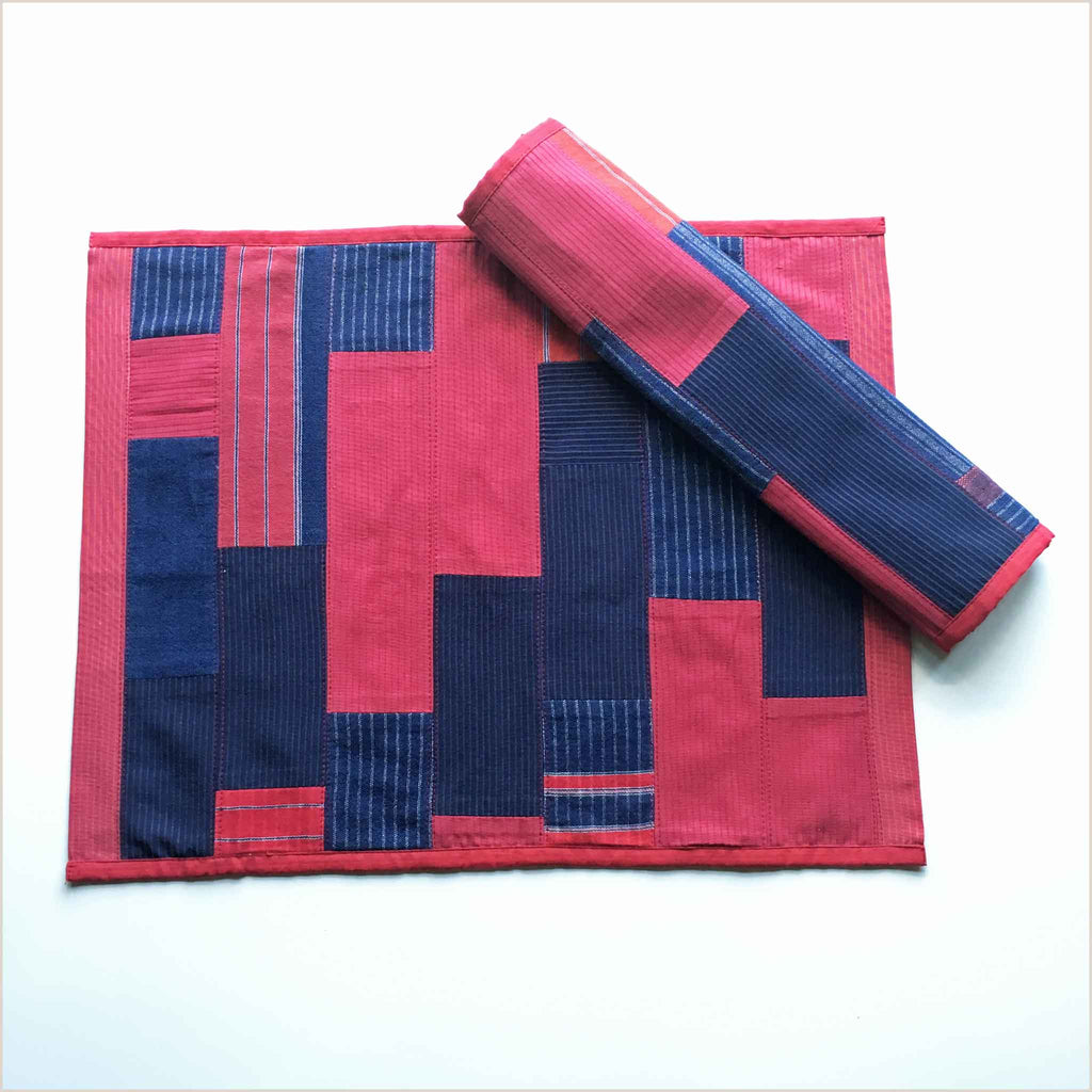 Nagada Patchwork Set of 2 Placemats in Red & Blue - Pomegranate Living
