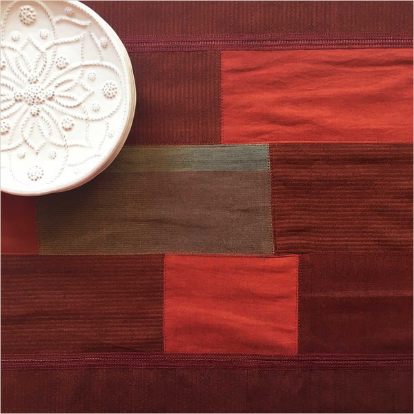 Nagada Patchwork Table Runner in Burgundy & Olive - Pomegranate Living