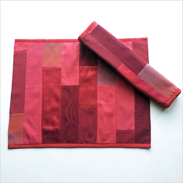Nagada Patchwork Set of 2 Placemats in Red - Pomegranate Living