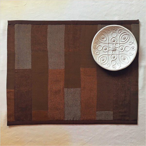 Nagada Patchwork Set of 2 Placemats in Copper & Brown - Pomegranate Living