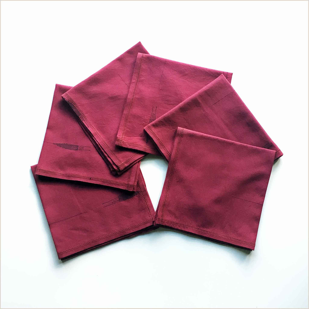 Nagada Set of 6 Burgundy Napkins - Pomegranate Living