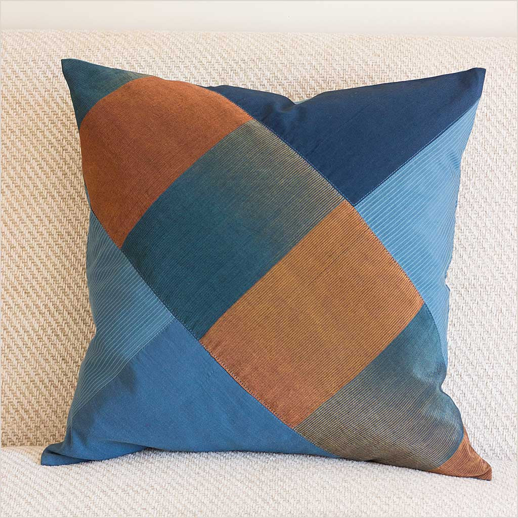 Nagada Patchwork Cushion in Blue with Diagonal Pattern - Pomegranate Living