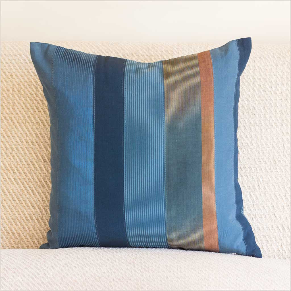 Nagada Patchwork Cushion in Blue with Stripes