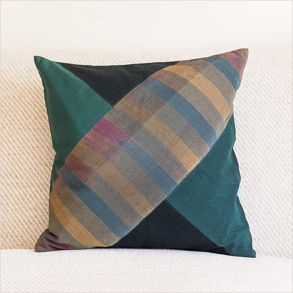 Nagada Patchwork Cushion in Emerald with Diagonal Pattern - Pomegranate Living