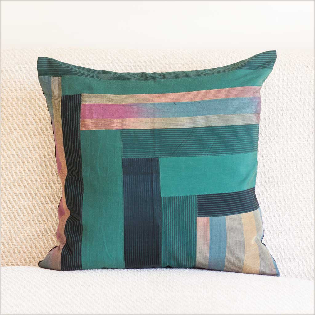 Nagada Patchwork Cushion in Emerald with Stripes