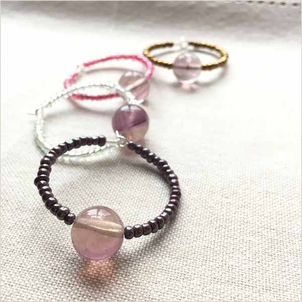 NEA Design Eve Set of 4 Wine Glass Charms in Lilac Quartz - Pomegranate Living