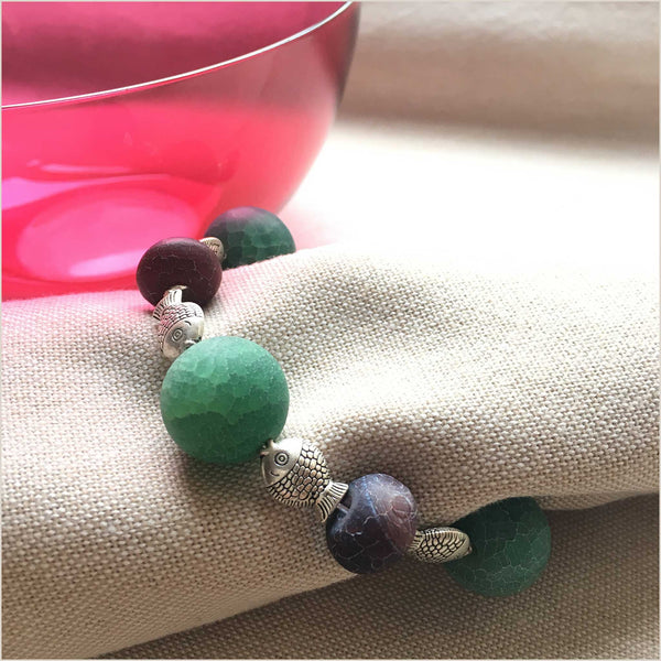 NEA Design Ivy Set of 4 Napkin Rings in Green Cracked Agate - Pomegranate Living