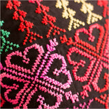 Cushion with Embroidered Hearts & Stripes