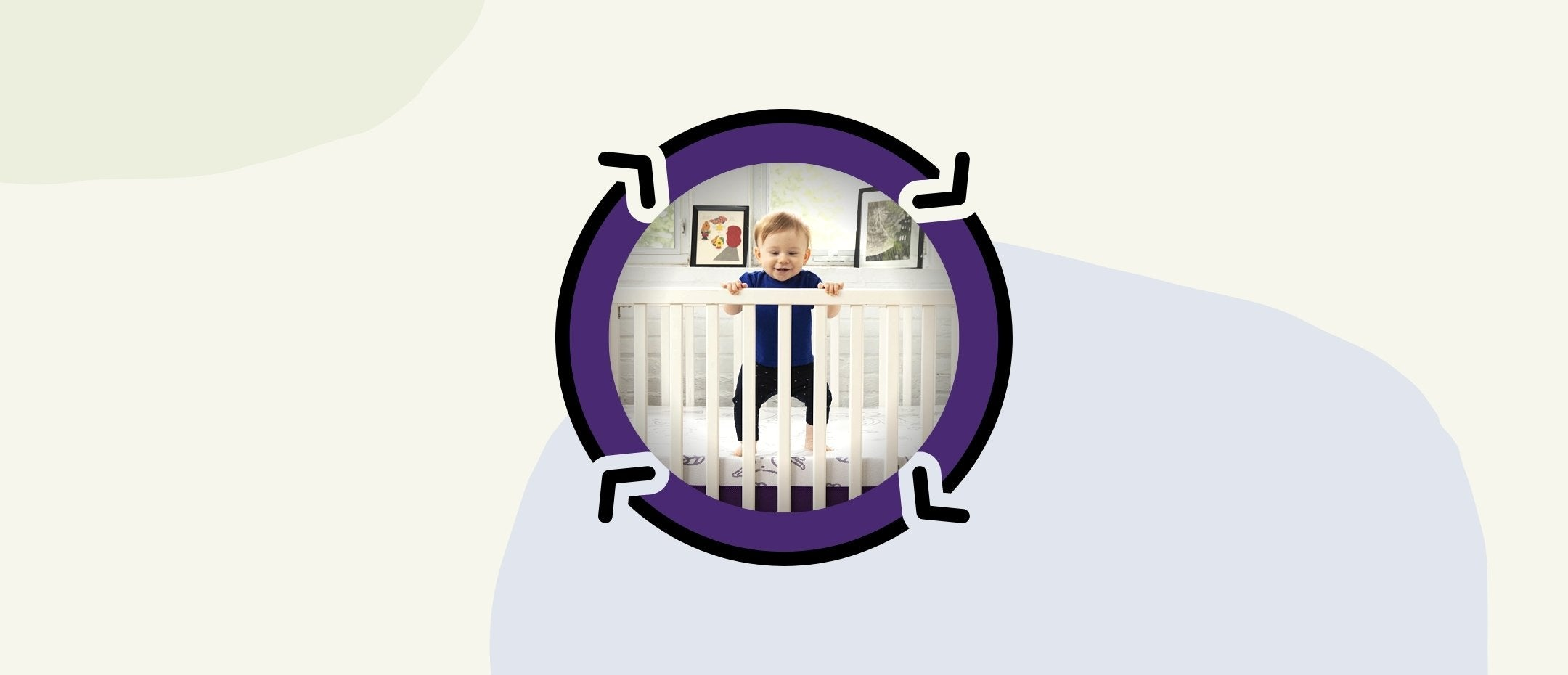 Playful baby in his new Polysleep baby bed