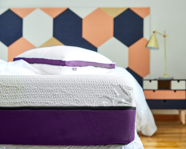 The Polysleep Mattress and Pillow photographed in close-up so that we can see the details