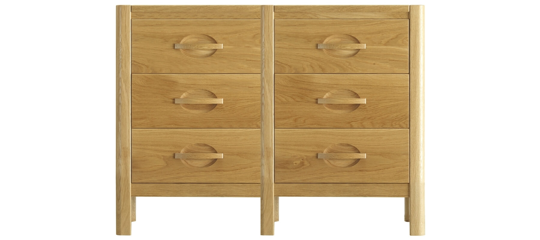 A six-drawer nightstand