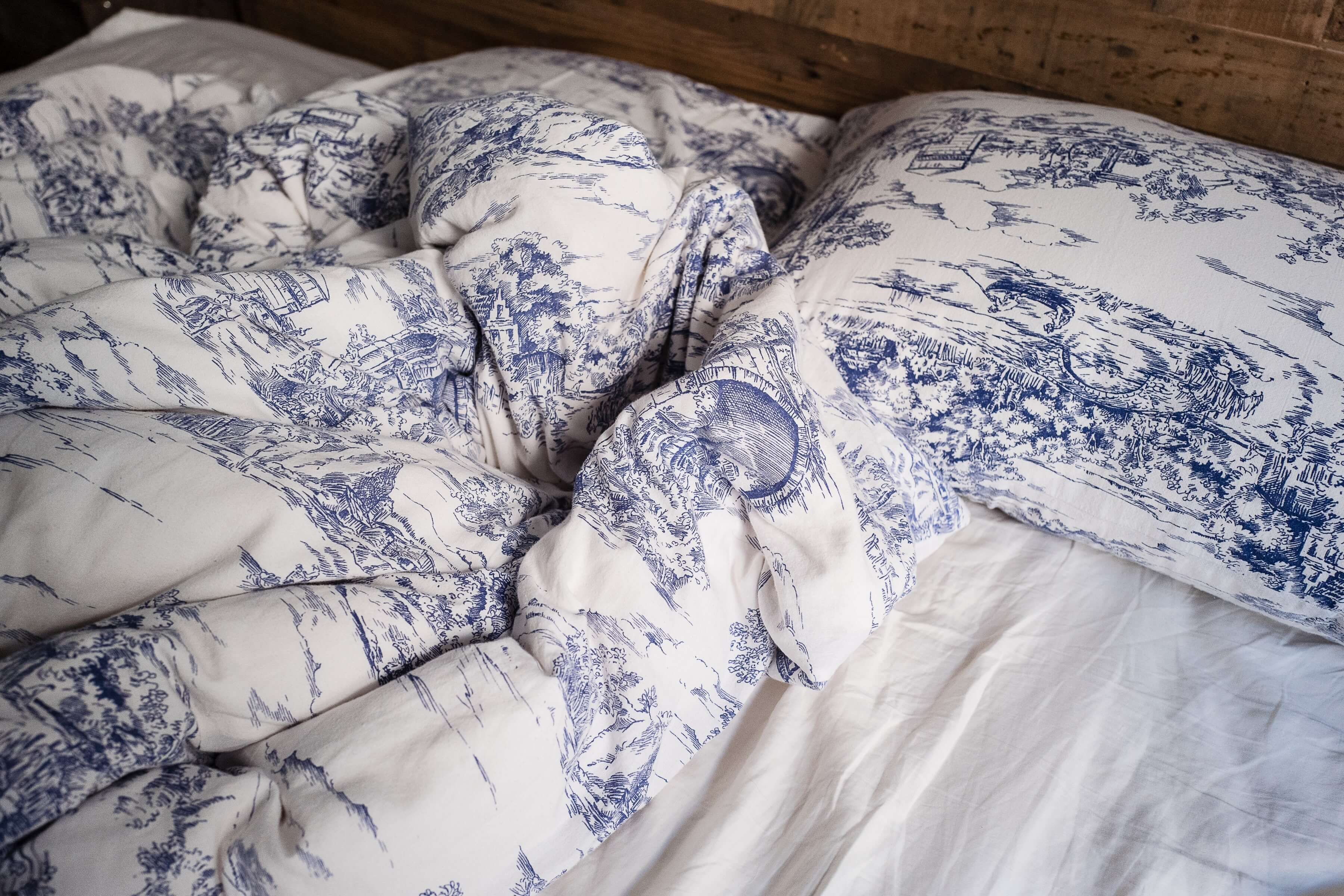 A comforter with toile de Jouy patterns