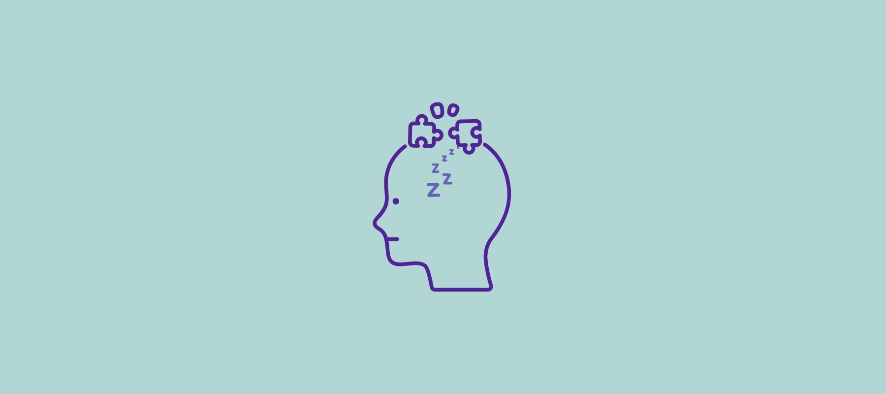 Illustration of a puzzle and sleepiness of a human head depicting the complexity of narcolepsy