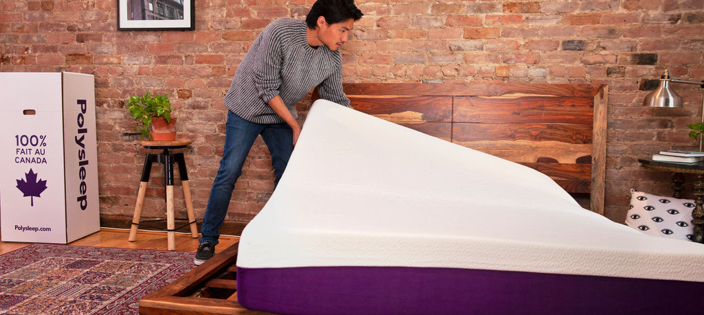A man receives and installs his Polysleep foam mattress in Fredericton
