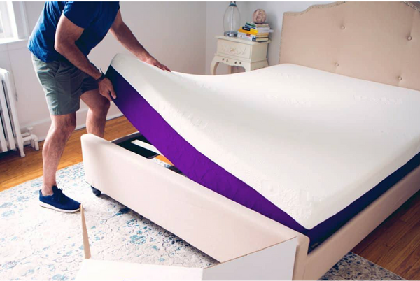 Polysleep mattress being installed on a foundation