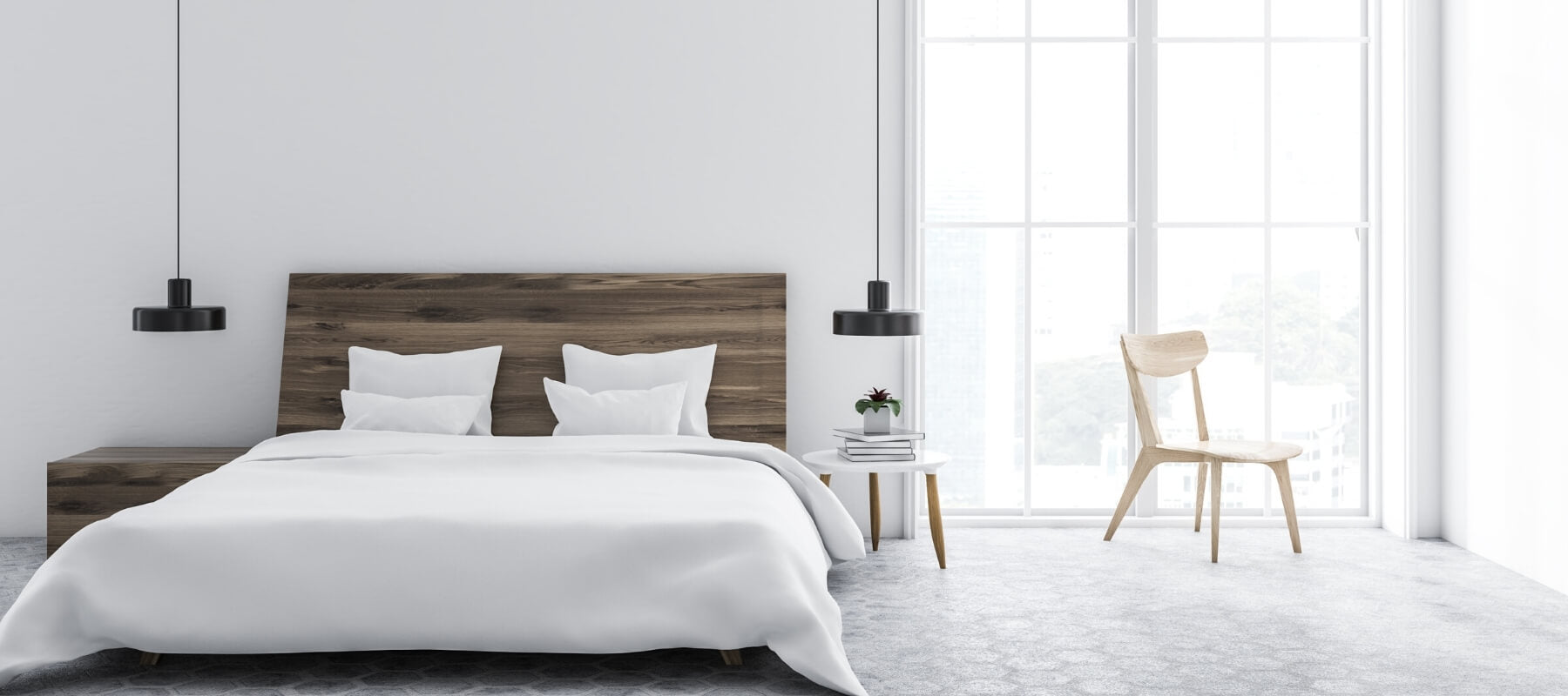 A large modern bedroom including a king size bed