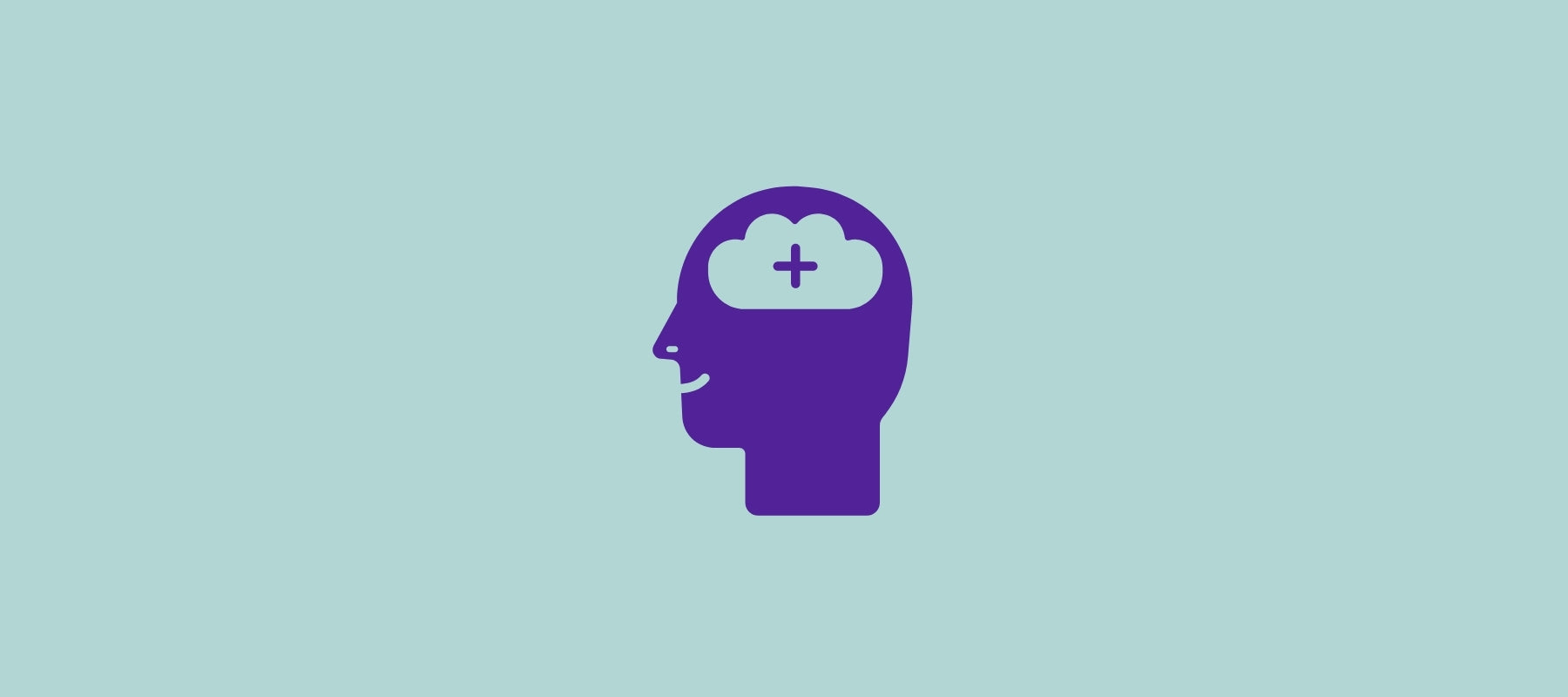 Illustration of the + sign on the brain of a human head defining a solution to limit the symptoms of narcolepsy