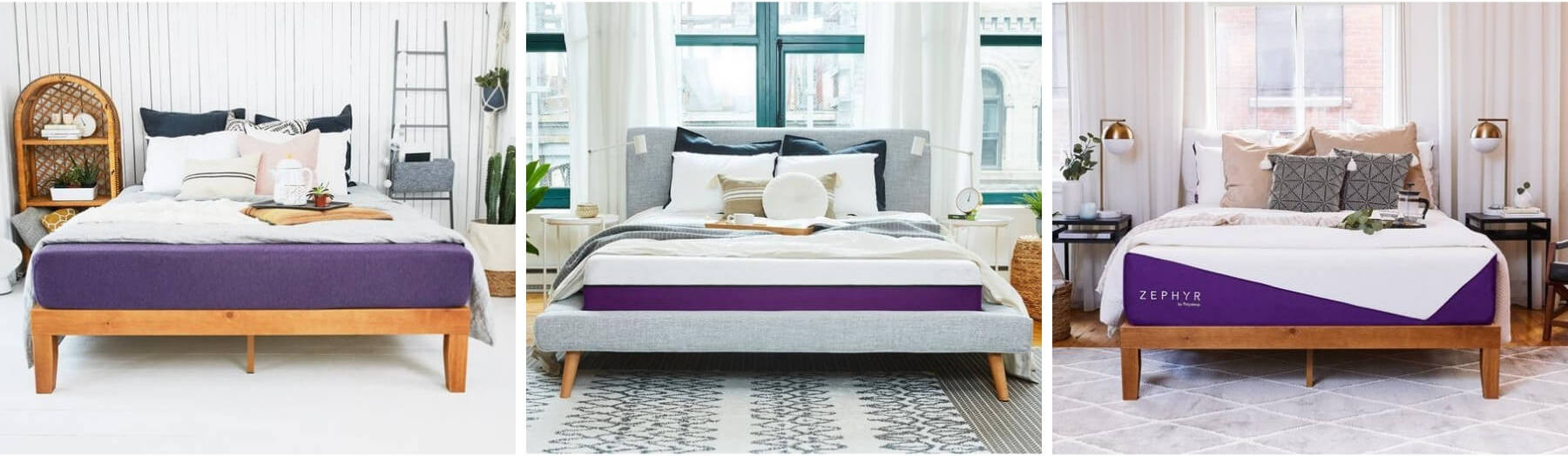 The Origin, Polysleep and Zephyr mattresses side-by-side