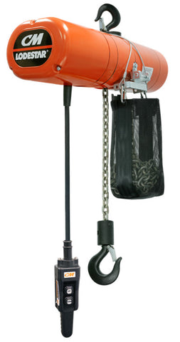 2735NH - CM LodeStar IN STOCK- 500# (1/4 Ton), Single Spd - Chain/Electric, Lift - 10ft. Lft Spd - 32 fpm Voltage 230/460/3/60, Rigid Hooks