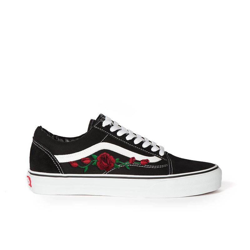 Vans Old Skool Custom Shoes with Red Rose Embroidery