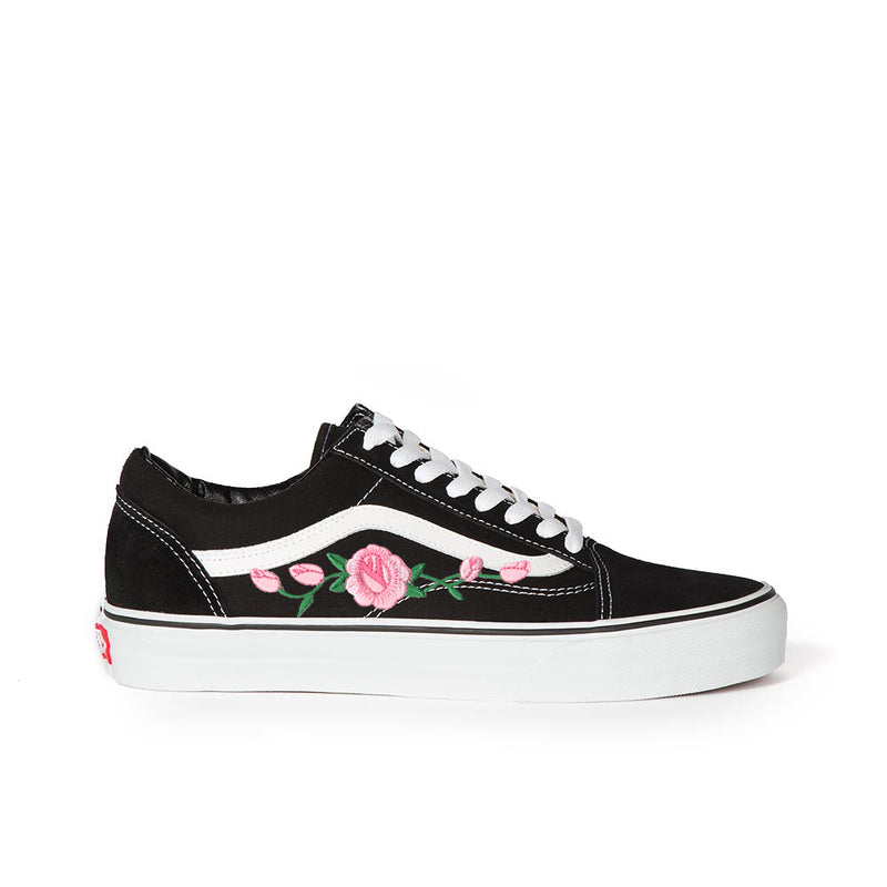 Vans Old Skool Custom Shoes with Pink Rose Embroidery