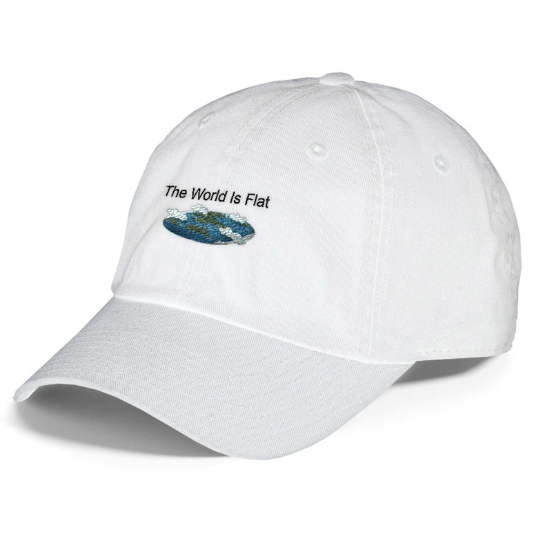 The World Is Flat white Dad Hat