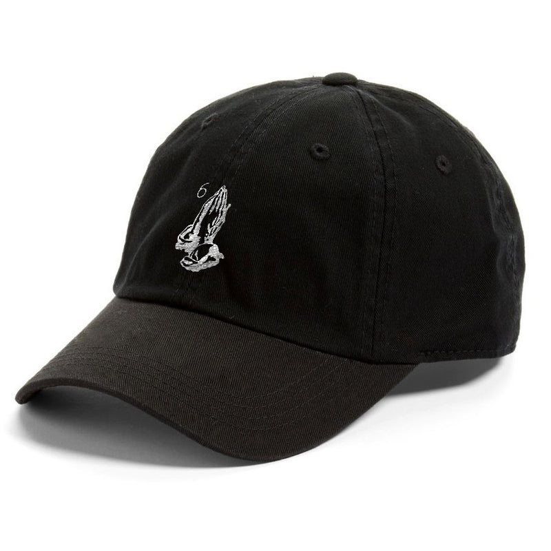 6 god ovo praying hands black dad hat