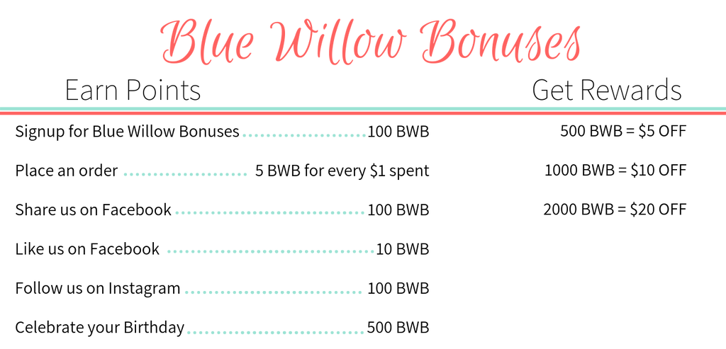 Blue Willow Bonuses Chart