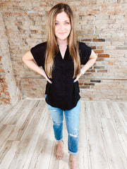 Sweet Short Sleeve Button Up - Black-Tops Short Sleeve-[option4]-[option5]-[option6]-Shop-Womens-Boutique-Store