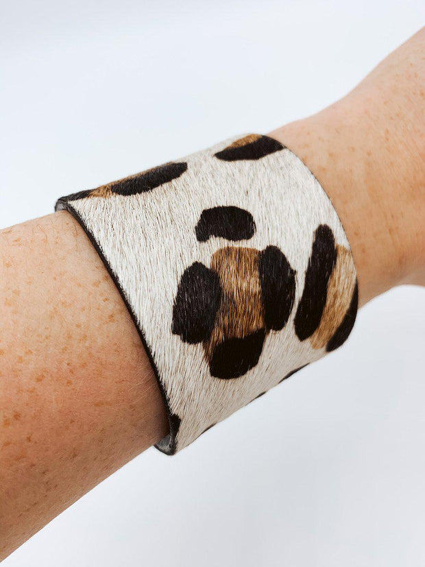 Snow Leopard Cuff Bracelet-Accessories-Large-[option4]-[option5]-[option6]-Shop-Womens-Boutique-Store