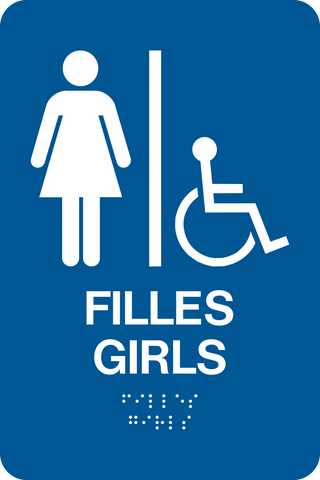 Washroom Girls Accessible Bilingual