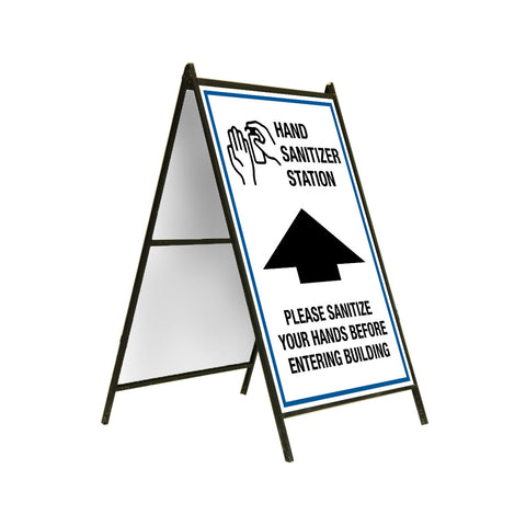 "A-Frame Sign Stand - Top-Loading 24"" x 36"" HAND SANITIZER STATION"