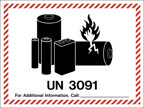 Class 9 - Danger - Battery Label - Lithium Metal UN3091