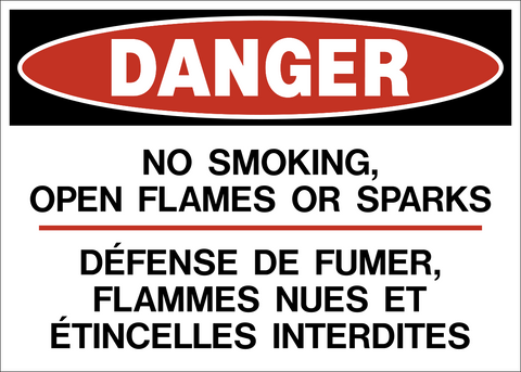 Danger - No Smoking Bilingual B