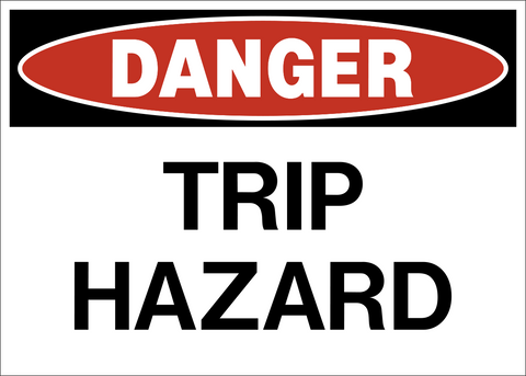 Danger trip hazard Safety sign