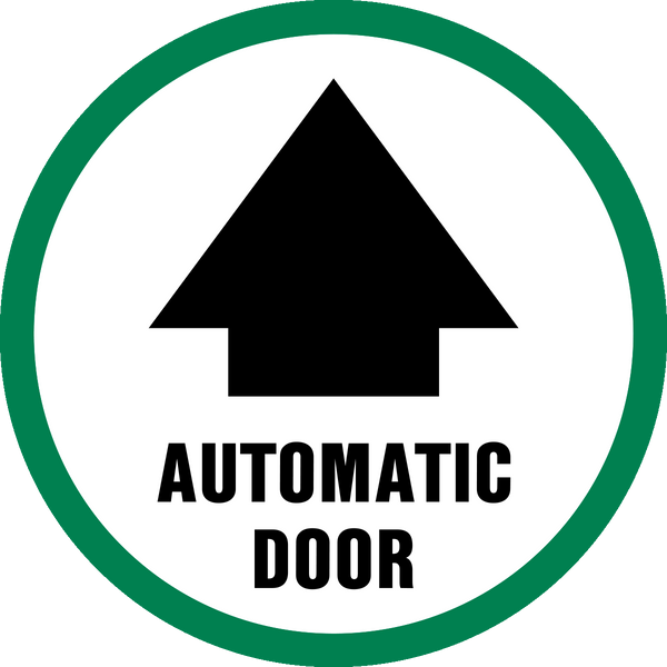 Automatic Door With Arrow Western Safety Sign