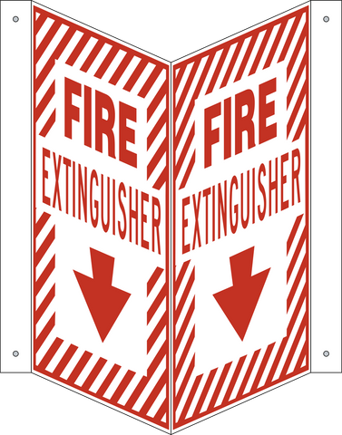 Fire Extinguisher - Hash Mark Border V-Shape