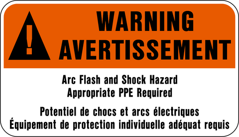 Warning - Arc Flash & Shock Hazard Bilingual