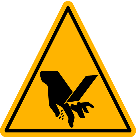 Caution Hand Severing Western Safety Sign