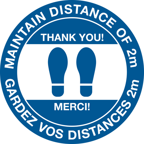Physical Distance Bilingual Text - Floor Decal