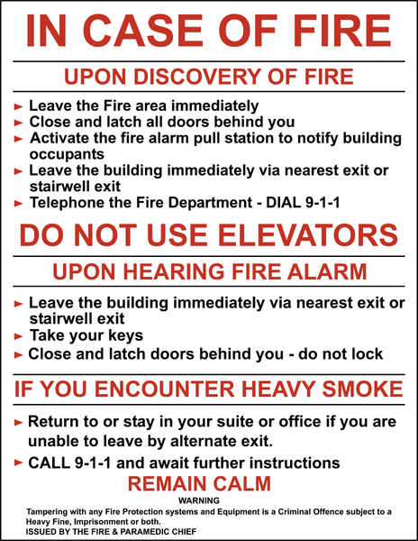 In Case Of Fire Western Safety Sign
