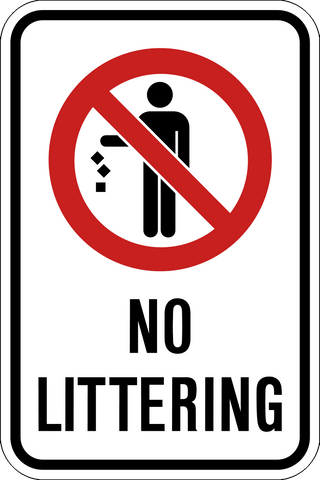 No Littering Western Safety Sign