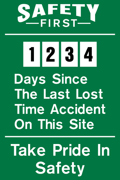 Lost Time Accident 4 Western Safety Sign