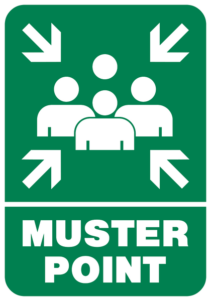 Muster Point People Graphic Western Safety Sign